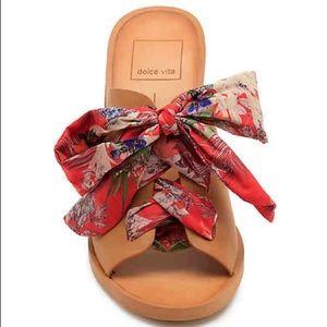 DOLCE VITA Aleeya Lace Up Bow Red & Tan Sandal